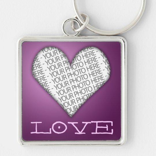 Pourpre de coeur d'amour de porte - clé votre porte-clé carré argenté