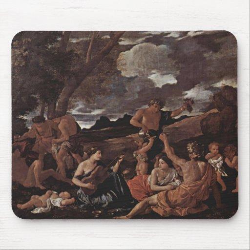 Poussin-Grande orgie de Nicolas, femme jouant le l Tapis De Souris