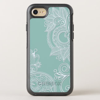 Prägeartige Art weißes Paisley auf Minze OtterBox Symmetry iPhone 7 Hülle