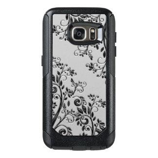 Prägeartige schwarze glatte Art mit Blumen OtterBox Samsung Galaxy S7 Hülle