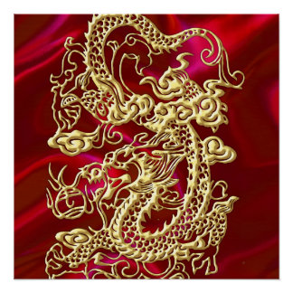 Prägeartiger Golddrache auf rotem Satin-Druck Poster