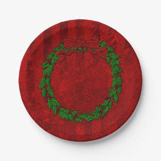 Prägeartiger Stechpalmen-Kranz-Rot-Streifen Pappteller 17,8 Cm