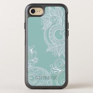 Prägeartiges Boho aquamarines Paisley OtterBox Symmetry iPhone 7 Hülle