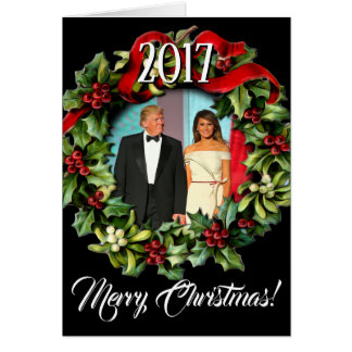 Präsident 2017 Donald Trump u. Melania-Weihnachten Karte