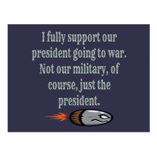 Präsident, der Witz in den Krieg geht Postkarte
