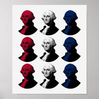 Präsident George Washington - rot, weiß und Blau Poster