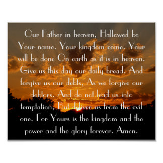 Prayer des Lords auf einem schönen Sonnenuntergang Poster
