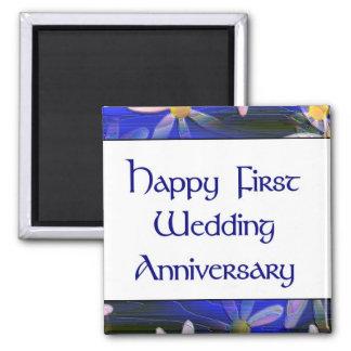 Premier anniversaire de mariage heureux aimants pour réfrigérateur