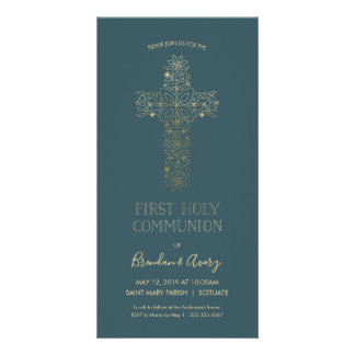 Premier invitation de sainte communion - or,