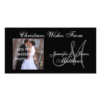 Premier monogramme marié PhotoCard de Noël Photocartes