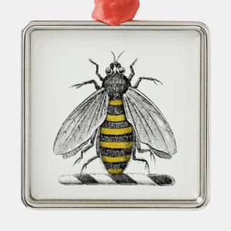 Preppy heraldisches Vintages Bienen-Wappen Emblem Silbernes Ornament
