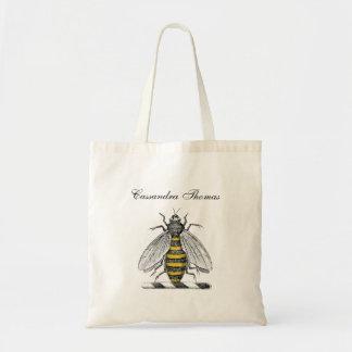Preppy heraldisches Vintages Bienen-Wappen Emblem Tragetasche