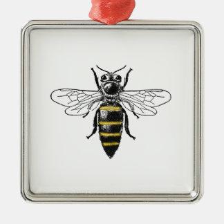 Preppy heraldisches Vintages Wappen der Bienen-#2 Silbernes Ornament