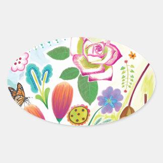 présent pour elle, illustration florale sticker ovale
