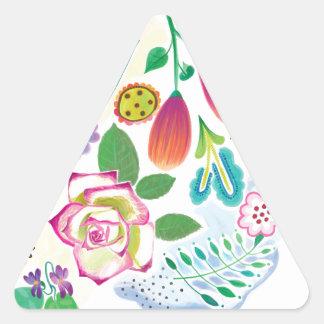 présent pour elle, illustration florale autocollant en triangle