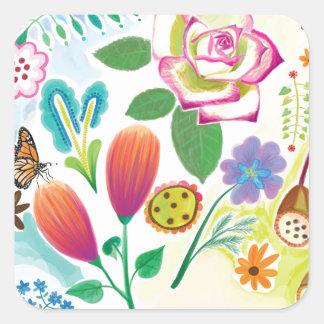 présent pour elle, illustration florale autocollant carré