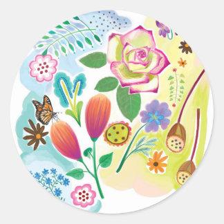 présent pour elle, illustration florale adhésif rond