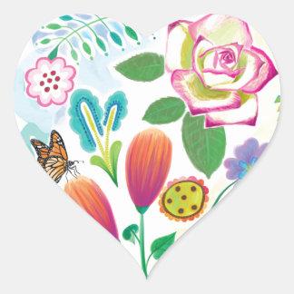 présent pour elle, illustration florale autocollant en cœur