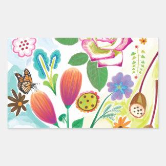 présent pour elle, illustration florale stickers en rectangle