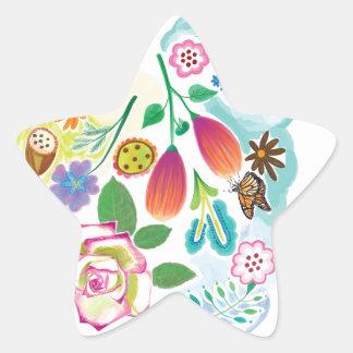 présent pour elle, illustration florale autocollant en étoile