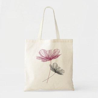 Pretty flower line drawing sac en toile budget