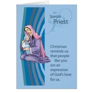 Priester Christams Karte mit Mary und Säugling