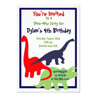 Primärfarbdinosaurier-Geburtstags-Party Karte