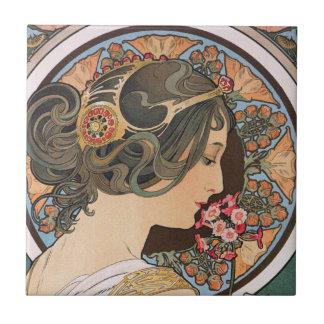 Primel durch Alphonse Mucha - Vintage Kunst Nouvea Kleine Quadratische Fliese