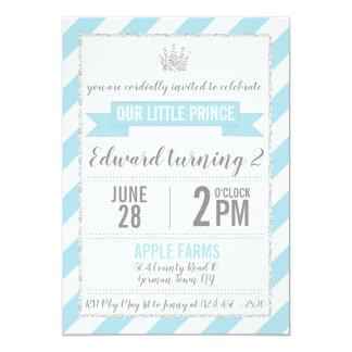 Prince argenté bleu Birthday Invitation de parties