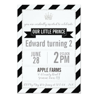Prince argenté noir Birthday Invitation de parties