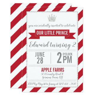 Prince argenté rouge Birthday Invitation de