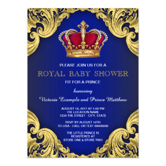 Prince de fantaisie royal baby shower carton d'invitation  16,51 cm x 22,22 cm