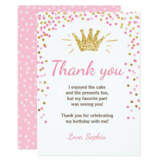 Princesse Birthday Gold Pink de carte de