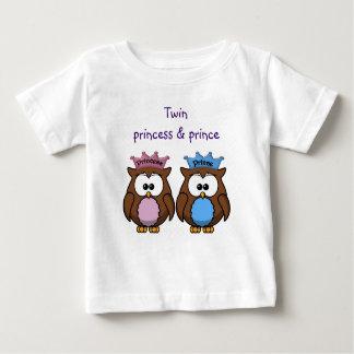princesse et prince jumeaux de hibou t-shirt pour bébé