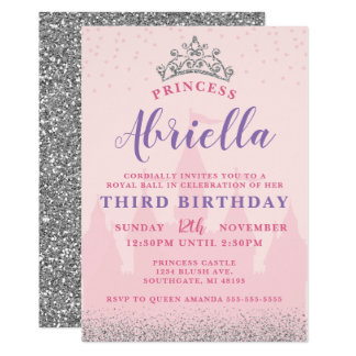 Princesse rose et argentée Birthday Invitation