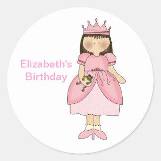 Princesse With Frog Sticker d'anniversaire Sticker Rond
