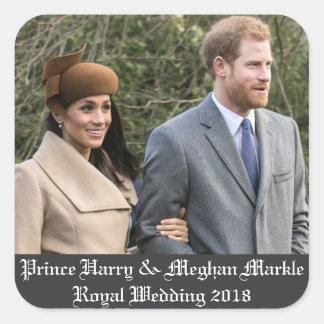 Prinz Harry u. Meghan Markle königliche Hochzeit Quadratischer Aufkleber