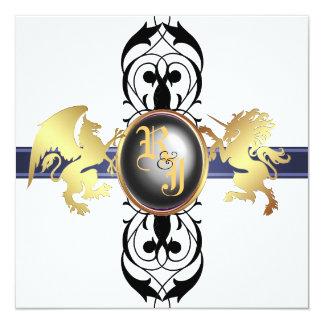 Prinz u. Prinzessin Black Champagne Invitation Quadratische 13,3 Cm Einladungskarte