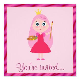 Prinzessin Arts und Handwerks-Geburtstags-Party Quadratische 13,3 Cm Einladungskarte