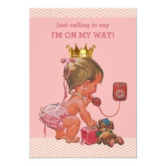 Prinzessin auf Telefon-Babyparty-Sparren-Rosa 12,7 X 17,8 Cm Einladungskarte