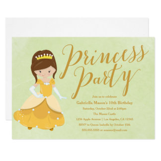 Prinzessin Birthday Party Invite - brünett/Gold Karte