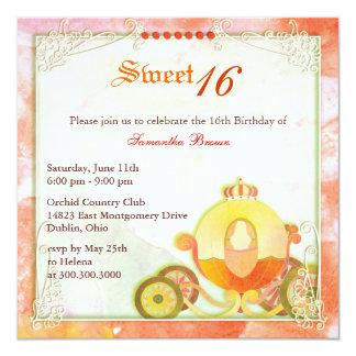 Prinzessin Carriage Sweet 16 Geburtstags-Party Quadratische 13,3 Cm Einladungskarte
