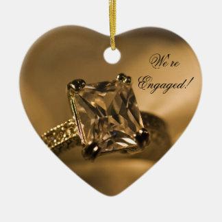 Prinzessin Cut Diamond Engagement Ring Keramik Herz-Ornament