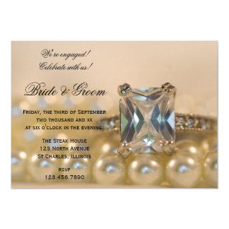 Prinzessin Cut Diamond und Perlen-Verlobungs-Party Karte