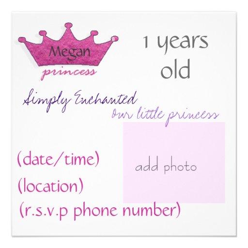 Prinzessin Personalisierte Einladungskarte
