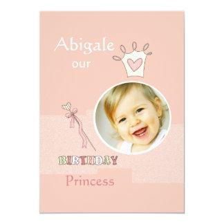 Prinzessin First Birthday - Foto-Geburtstags-Party 12,7 X 17,8 Cm Einladungskarte