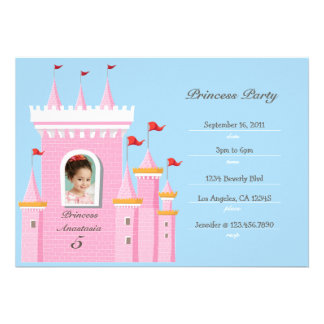 Prinzessin in der Schloss-Geburtstags-Party Einlad Individuelle Einladungskarten