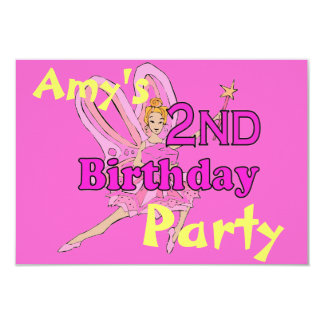 Prinzessin-Party des 2. Geburtstages des Mädchens 8,9 X 12,7 Cm Einladungskarte
