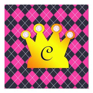 Prinzessin Party Pink Argyle Quadratische 13,3 Cm Einladungskarte