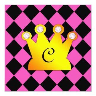 Prinzessin Party Pink Black Argyle Quadratische 13,3 Cm Einladungskarte